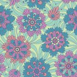 Decorative flowers. Seamless floral pattern. Stock Photo