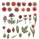 Decorative flowers set Royalty Free Stock Photo