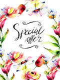 Decorative flowers with title special offer Royalty Free Stock Images