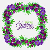 Decorative flowers of watercolor spring wreath Royalty Free Stock Photography
