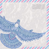 Decorative flying dove on the card stylized airmail Royalty Free Stock Image