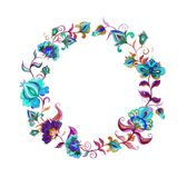 Decorative folk art flowers - floral wreath in slavic motifs. Watercolor circle Royalty Free Stock Photography