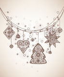 Decorative folk graphic background. With geometric patterns Royalty Free Stock Image