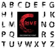 Decorative font. Consisting of uppercase letters of the Latin alphabet. Characters of this font represent fragments of fingerprints. Vector illustration Stock Image
