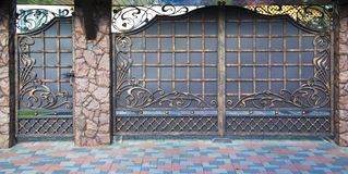 Decorative, forged barrier, fence in old stiletto Stock Photography