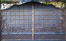 Decorative, forged barrier, fence in old stiletto Royalty Free Stock Photography