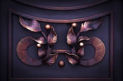 Decorative forged elements on metal forged gates in dark colors.  stock photos