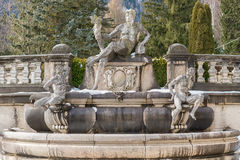 Decorative fountain in the courtyard of the The Peles Castle in Stock Image
