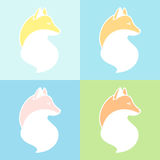 Decorative foxes. Fox graphic silhouette. Different foxes on colorful backgrounds vector illustration