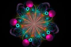 Decorative fractal abstract arrangement on black background vector illustration