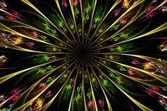 Decorative fractal abstract flower on black background vector illustration