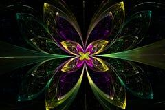 Decorative fractal abstract green flower on black background vector illustration