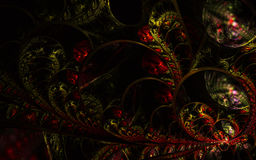 Decorative fractal abstract ornament on black background Royalty Free Stock Photography