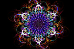Decorative fractal abstract pattern on black background stock illustration