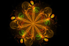 Decorative fractal abstract yellow flower on black background royalty free illustration
