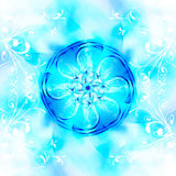 Decorative fractal wallpaper - intricate patterns of blue light Royalty Free Stock Photo