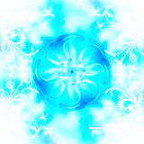 Decorative fractal wallpaper - intricate patterns of blue light Stock Images