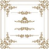 Decorative frame. Vector set of decorative horizontal elements, border and frame. Basic elements are grouped Stock Images