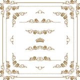 Decorative frame. Vector set of decorative horizontal elements, border and frame.  Page decoration Royalty Free Stock Photos