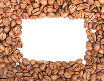 Decorative frame arranged with coffee beans Stock Photo