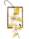 Decorative frame with artificial flowers Royalty Free Stock Photos