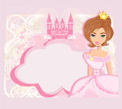 Decorative frame with beautiful princess and pink castle Royalty Free Stock Photos