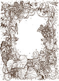 Decorative frame of bindweed ink drawing Stock Photos