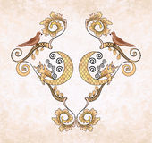 Decorative  frame with birds on a beige grange background Stock Photography