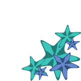 Decorative frame with blue and green starfishes on white, vector Stock Photos