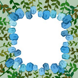 Decorative frame of blue roses. Vintage background of flowers. V Stock Photography