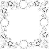 Decorative frame border with circle and stars Royalty Free Stock Images