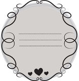 Decorative frame border with curls and hearts. Hand drawn frame border with curls and hearts for your photos or texts Stock Image