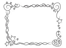 Decorative frame border with stars and spirals. Hand drawn frame border with stars and spirals for your photos or texts Stock Images