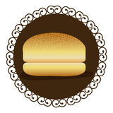 Decorative frame with bread hamburger icon food. Illustration Royalty Free Stock Images
