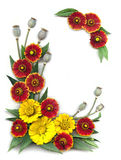 Decorative frame of bright red and yellow flowers Stock Photography