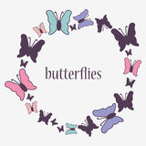Decorative frame with butterflies Royalty Free Stock Photos