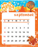 Decorative Frame for calendar - September Royalty Free Stock Image