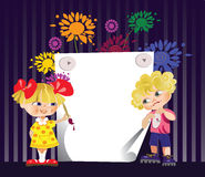 Decorative frame with children. Congratulatory card with boy and girl Stock Images