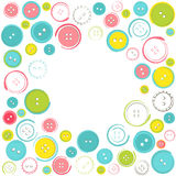 Decorative Frame with Circle of Buttons over White Stock Photography