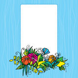 Decorative frame with colorful flowers Stock Images