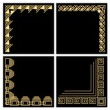 Decorative frame corner, gold material, filigree ornamental patterns in art deco style on black background, Stock Photo