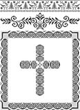 Decorative frame with a cross.Graphic arts. Royalty Free Stock Image
