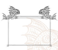 Decorative frame. Detailed medieval decorative frame as vintage engraved fish gargoyle, with close up fragment Royalty Free Stock Image