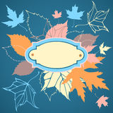 Decorative frame with falling leaves Royalty Free Stock Photo