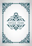 Decorative frame. Floral border. Elegant lines of calligraphic ornament. Heraldic symbols. royalty free illustration