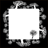 Decorative frame with floral elements. Silhouette of a forest Royalty Free Stock Photo