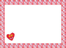 Decorative frame with floral hearts pattern Stock Image