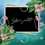 Decorative frame with flowers Stock Photo