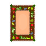 Decorative frame with fruit motif vector. Illustration without gradients Stock Images