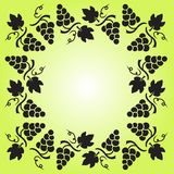 Decorative frame with grapevine, grapes and leaves. Vector illustration stock illustration